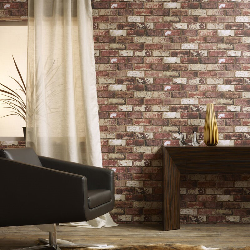 Industrial Style With D Brick Effect Wallpaper Graham Brown UK - 3d brick wallpaper living room
