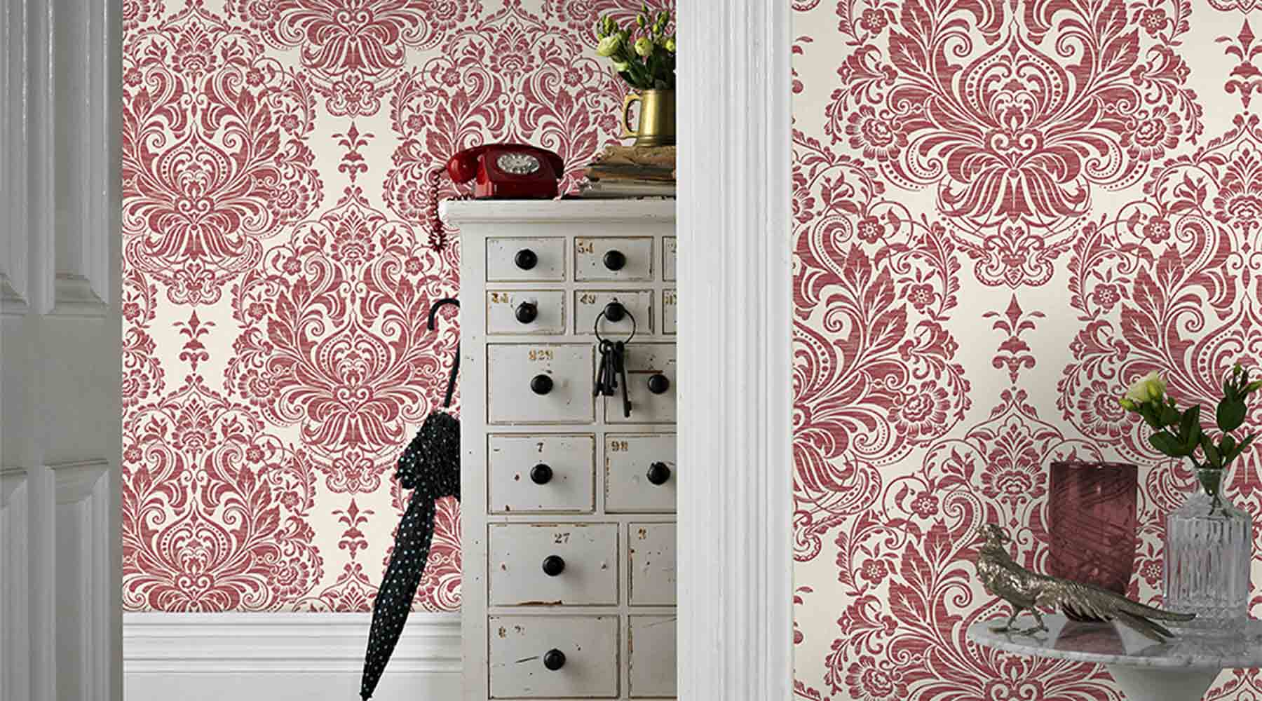 How to Style a Room with Red Wallpaper