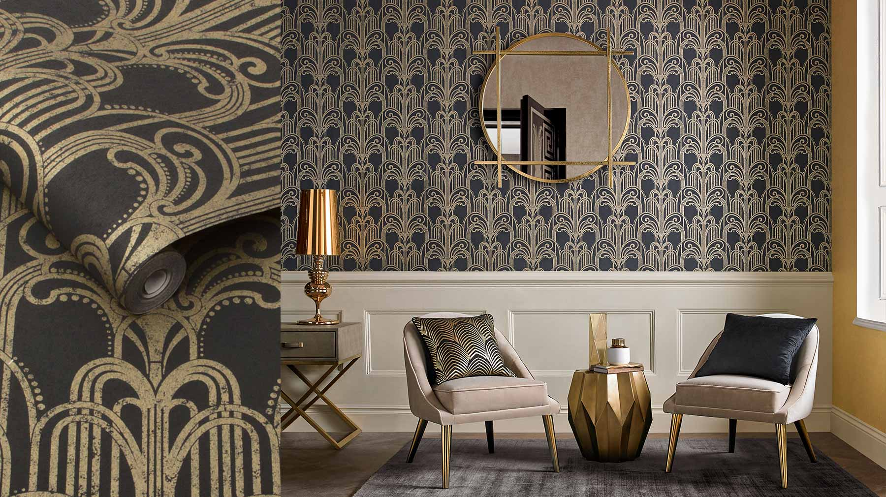 the art deco collection art deco wallpaper accessories graham brown. Black Bedroom Furniture Sets. Home Design Ideas