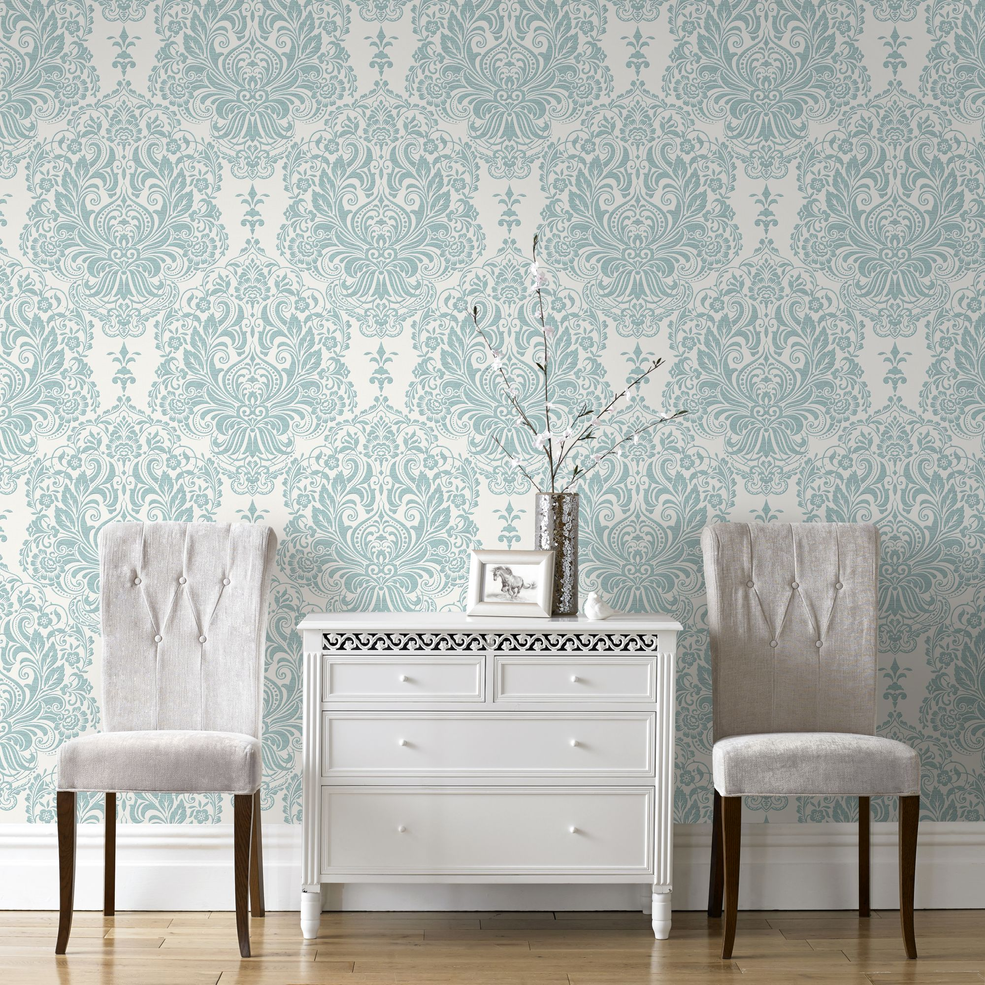 Details about superfresco melody shimmer damask duck egg wallpaper was £16
