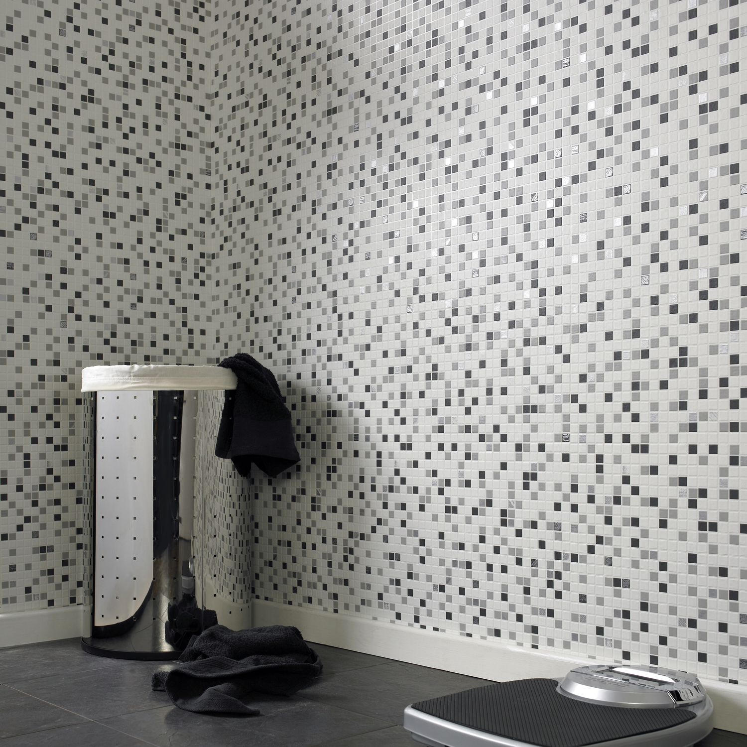 Contour Checkered Tile Effect Kitchen Bathroom Black White Silver Wallpaper Ebay