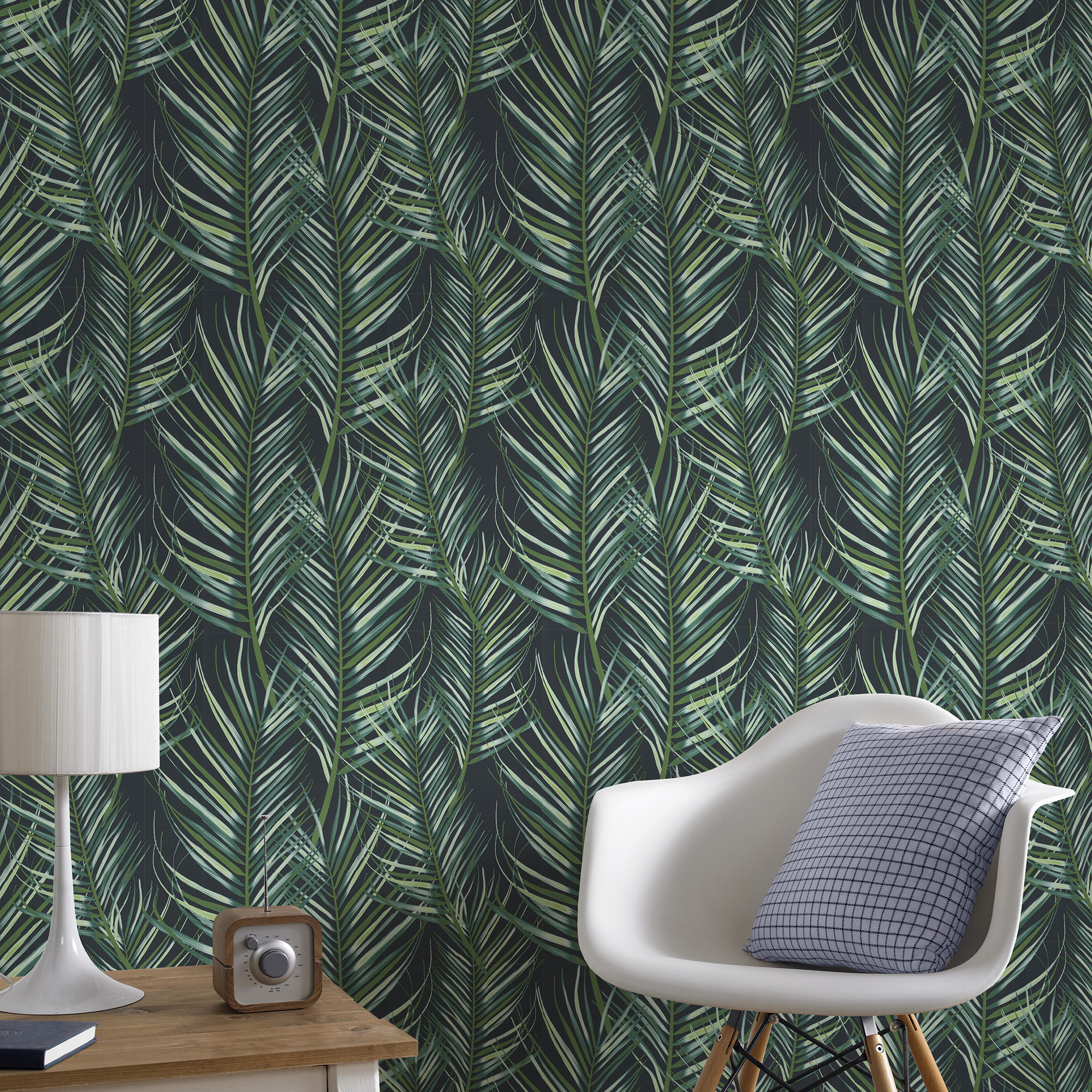 Details About Superfresco Easy Paste The Wall Palm Leaf Green Wallpaper Was 17