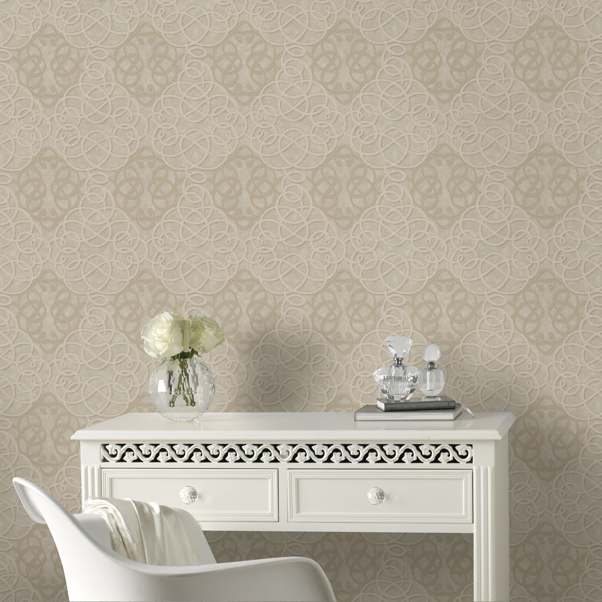 Boutique Ribbon Dance Geometric Gold Metallic Wallpaper