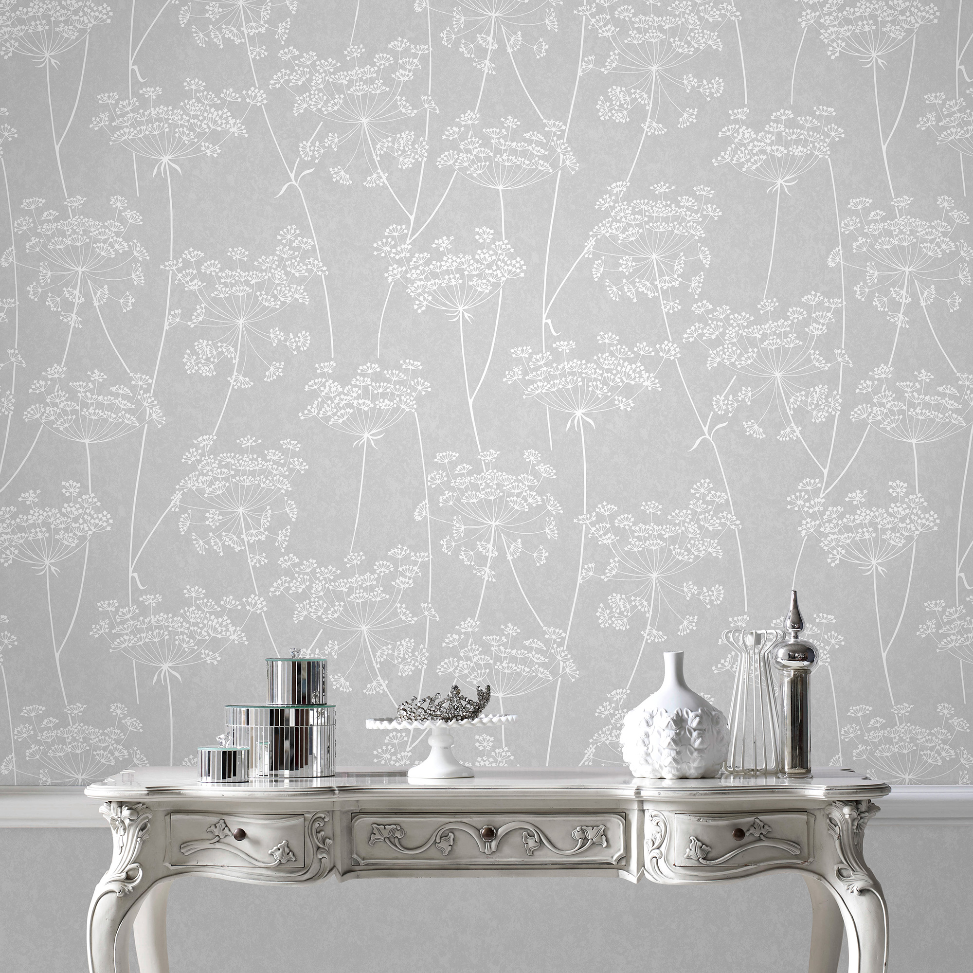 Details About Superfresco Easy Paste The Wall Aura Sprig Motif Grey Wallpaper Was 16