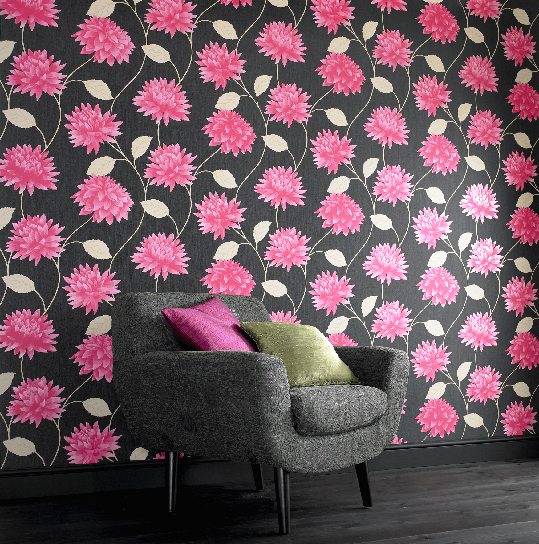 Superfresco Easy Romance Floral Blackpink Textured Wallpaper Was