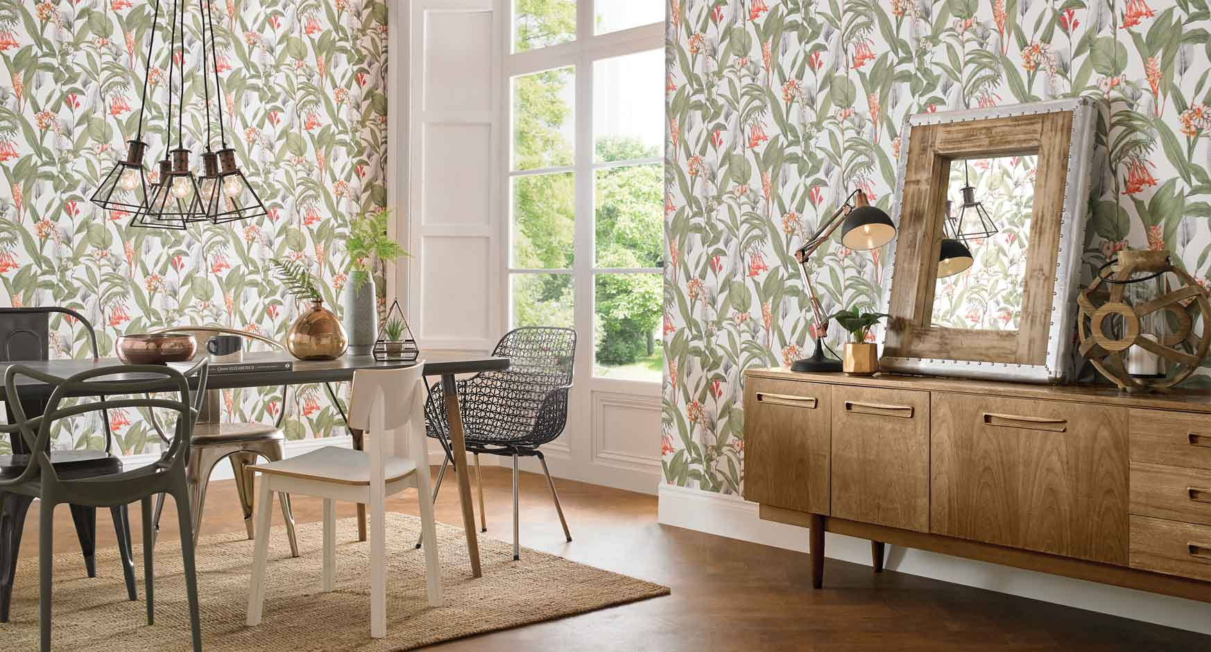 Dining room wallpaper dining room feature wall ideas for Dining room wallpaper