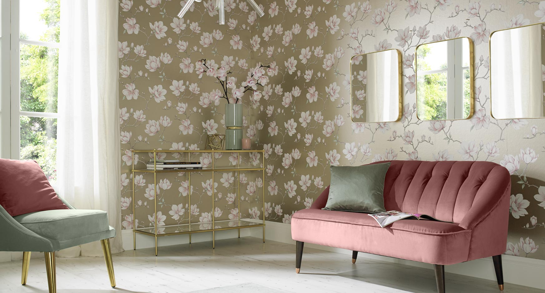 Shop by room graham brown for Wallpaper designs for living room green